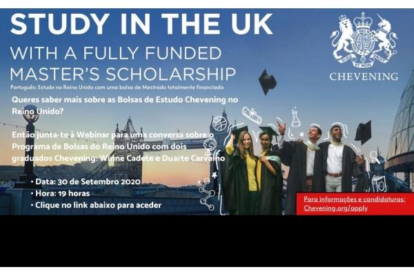 Participe no Webinar (30/09/20) e Concorra a uma Bolsa de Estudos Chevening do Reino Unido - Candidaturas até 3 de Novembro