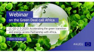 Comissão Europeia realiza Webinar sobre o European Green Deal Call, e lança Financiamento de  € 1 bilhão de Euros -  26 de Outubro 2020
