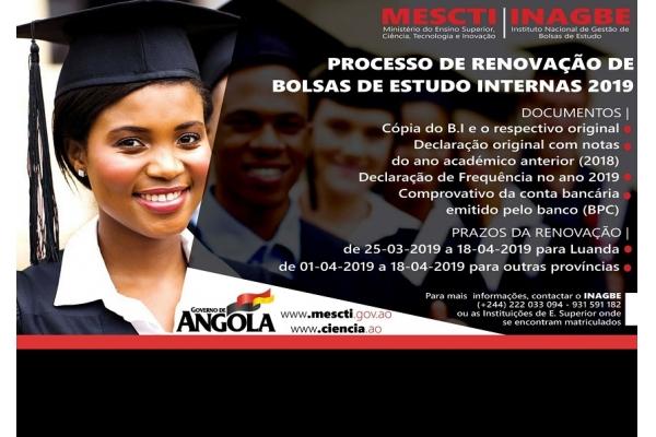 INAGBE Inicia o Processo de Renovação de Bolsas de Estudo Internas de Graduação e Pós-Graduação – 2019