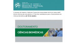 IHMT anuncia abertura de Candidaturas para o Doutoramento em Ciências Biomédicas - Até o dia 30 de Outubro 2020